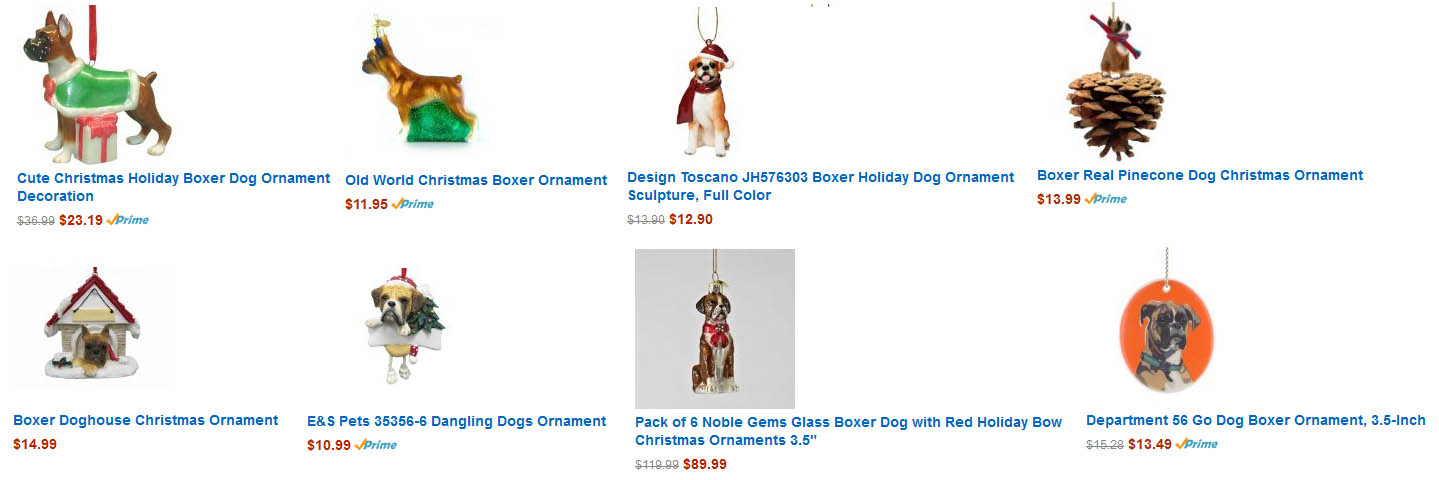 Boxers @ DogBreed-Gifts.com, Boxer Christmas Cards, Ornaments